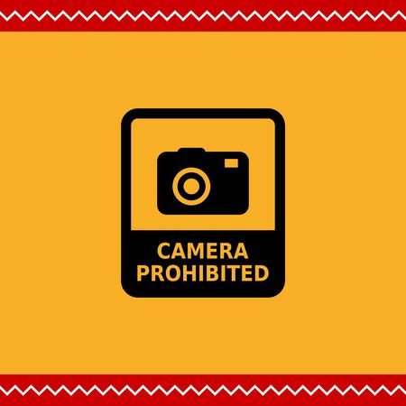 prohibited: Vector icon of Camera prohibited sign depicting snapshot camera with inscription Illustration