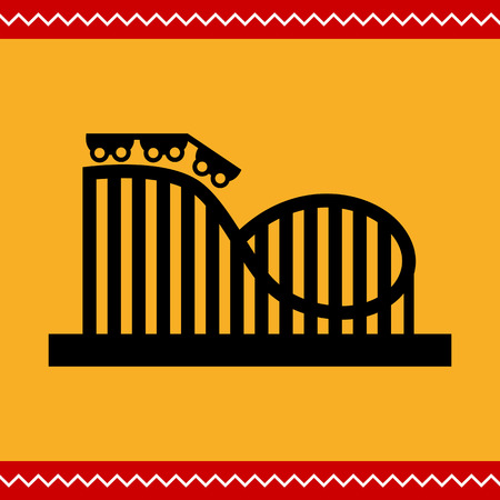 wagons: Vector icon of roller coaster silhouette with wagons and rails