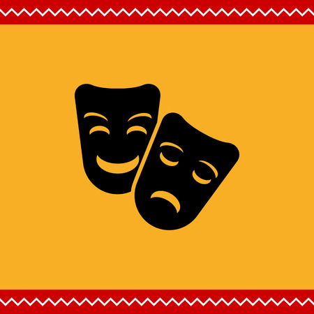 comedy and tragedy: Vector icon of comedy and tragedy theater masks