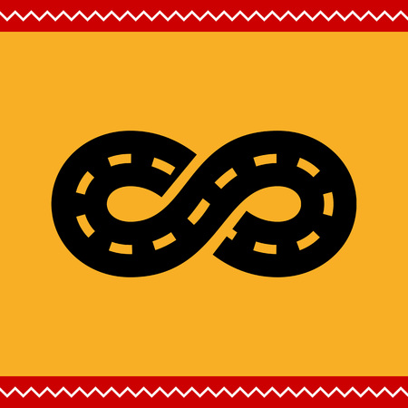 eternity: Vector icon of road with marking winding in form of eternity sign