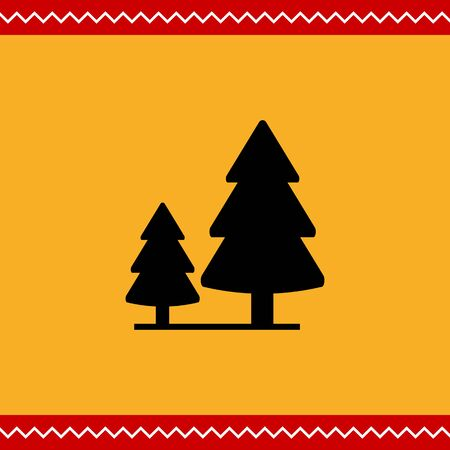 2 つのモミの木と木製看板のベクトルのアイコン 写真素材 - 46954961