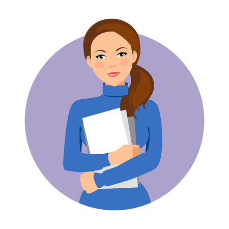 paper sheets: Female character, portrait of serious businesswoman holding paper sheets ring glasses Illustration
