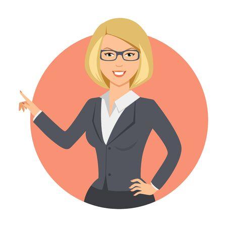 rubia: personaje femenino, retrato de la sonrisa de negocios que se�ala con su dedo Vectores