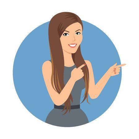 sexo femenino: Personaje femenino, retrato de mujer de negocios sonriente apuntando con sus dedos Vectores