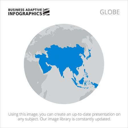 asia: Presentation template with map of Asia on Earth globe