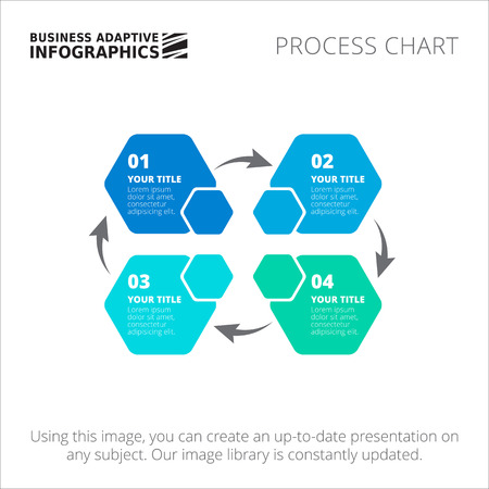 business process diagrams: Editable infographic template of process chart, blue version