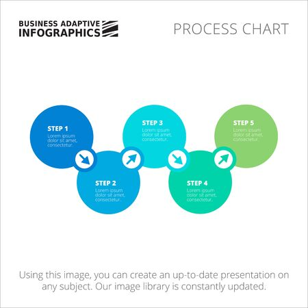 process chart: Editable infographic template of process chart, blue and green version Illustration