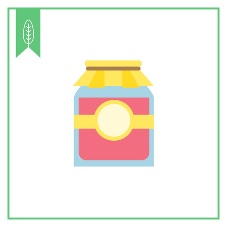 jam jar: Icon of jam jar with label and paper cover
