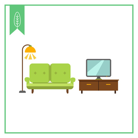 floor lamp: Icon of living room interior including couch, TV stand, TV-set and glowing floor lamp Illustration