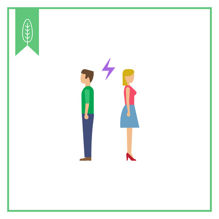 back to back couple: Icon of man and woman turning back to each other with lightning sign between them Illustration