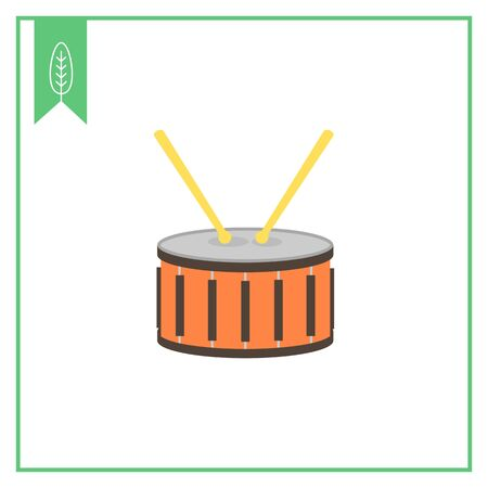 drumsticks: Icon of drum with two drumsticks Illustration