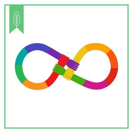 mani incrociate: Icona di vettore di mani colorate arcobaleno attraversato in forma di infinito segno