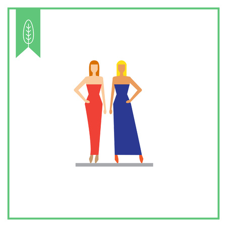 evening dresses: Icon of two fashion models demonstrating evening dresses