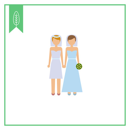 nontraditional: Icon of two brides Illustration