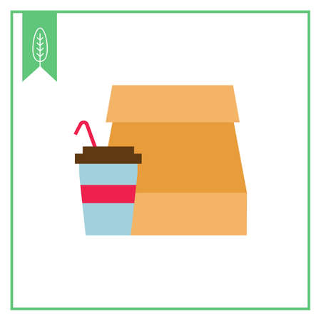 straw: Icon of paper bag and disposable cup with straw Illustration