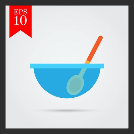 stirring: Icon of glass bowl with spoon