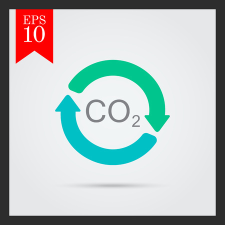exhaust gases: Vector icon of carbon dioxide formula in circle made of arrows Illustration