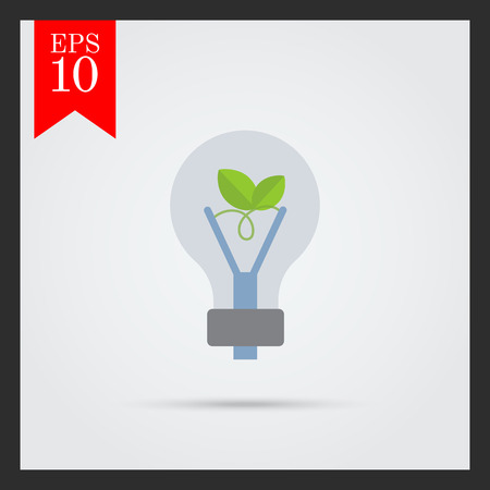 filament: Vector icon of eco-friendly lightbulb with green leaf inside Illustration