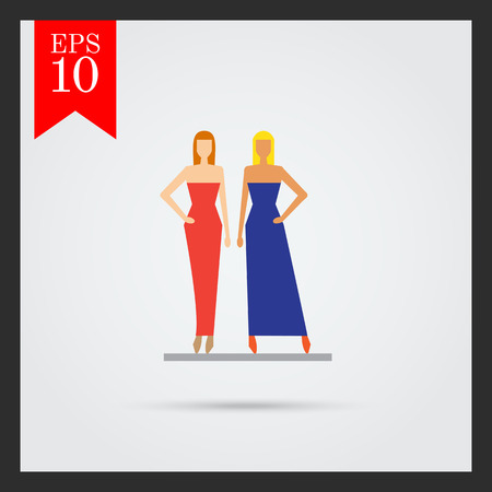 catwalk model: Icon of two fashion models demonstrating evening dresses
