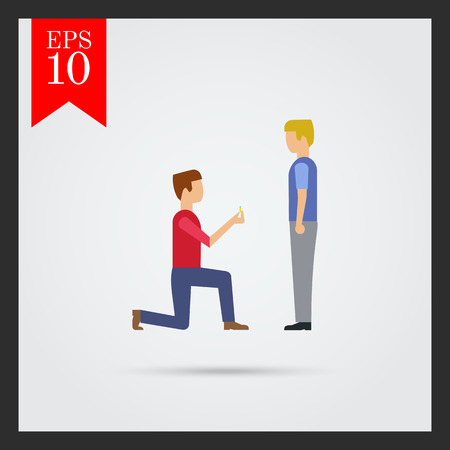 nontraditional: Icon of man standing on his knee in front of man and giving ring Illustration