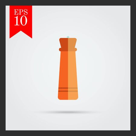 pepper mill: Icon of wooden pepper mill Illustration