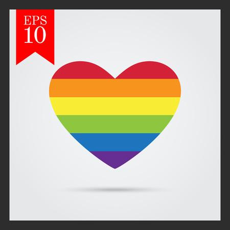 tolerance: Vector icon of rainbow heart, lgbt community sign