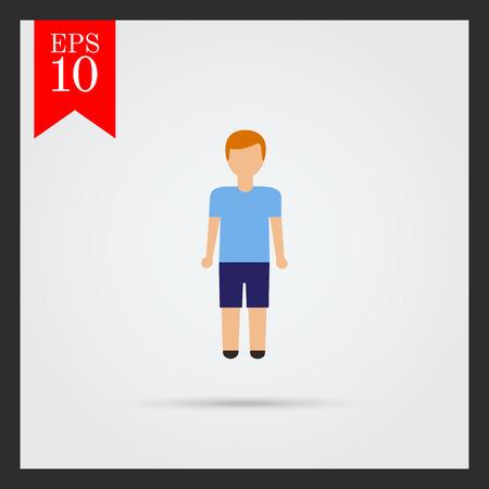teenage boy: Icon of teenage boy wearing blue t-shirt and shorts Illustration
