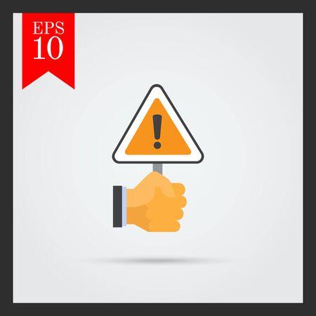 triangular warning sign: Vector icon of human hand holding triangular warning sign