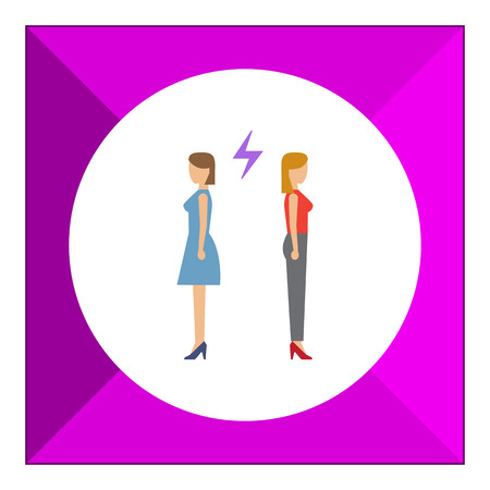annoying: Icon of two woman turning back to each other with lightning sign between them Illustration