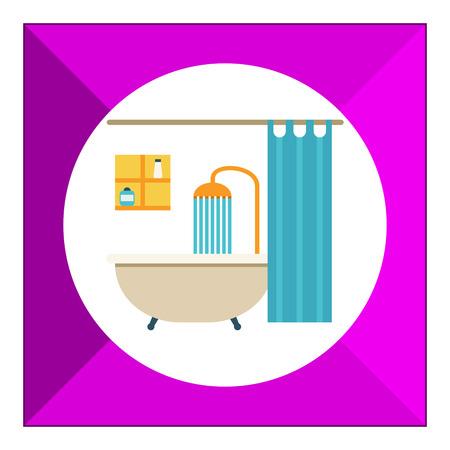 shower curtain: Icon of bathroom interior including bathtub, shower, shower curtain and shelves Illustration
