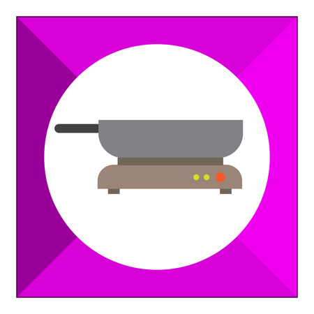 frying pan: Icon of frying pan standing on hotplate Illustration
