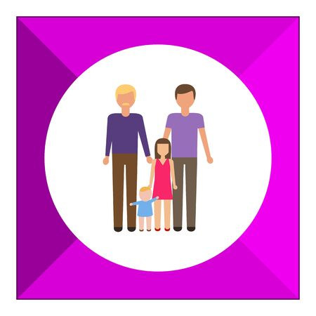 gay family: Icon of gay family consisting of two men and two children