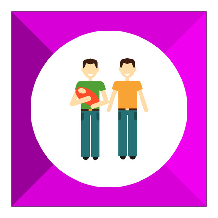 gay men: Icon of gay family consisting of two men and one baby