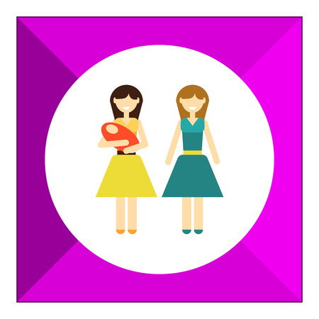 gay family: Icon of gay family consisting of two women and one baby Illustration