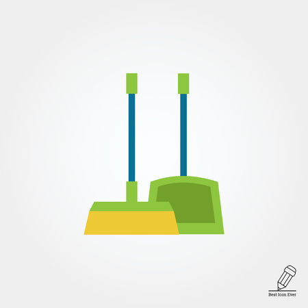 dustpan: Vector icon of dustpan and broom, isolated on white