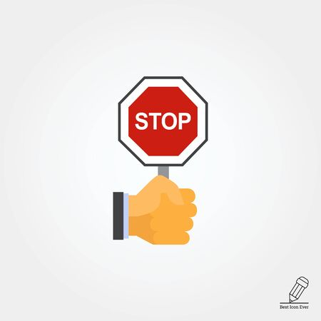 hand sign: Vector icon of human hand holding octagonal stop sign Illustration