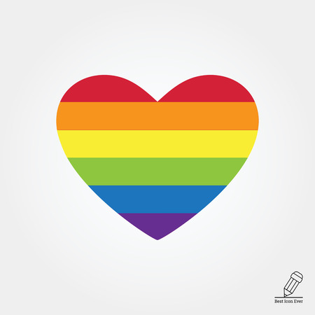Vector icon of rainbow heart, lgbt community sign