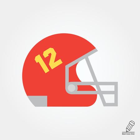 number twelve: Icon of red rugby helmet with grid and number twelve