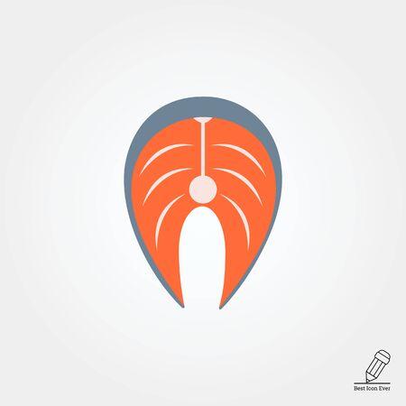 salmon steak: Vector icon of salmon steak, isolated on white