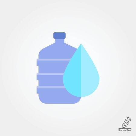 Vector icon of water dispenser with drop