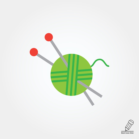 clew: Icon of green yarn ball and knitting needles