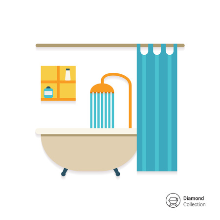 shower gel: Icon of bathroom interior including bathtub, shower, shower curtain and shelves Illustration