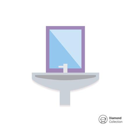 bathroom sink: Icon of bathroom sink with mirror