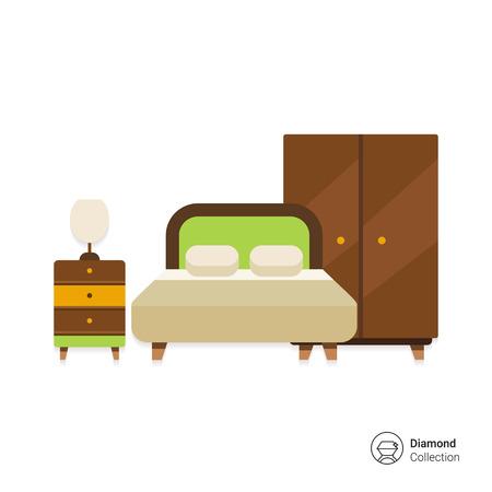 icoon van de slaapkamer interieur waaronder een tweepersoonsbed