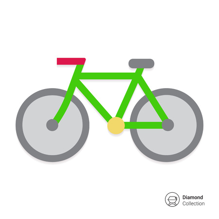 activity exercising: Vector icon of bicycle, isolated on white