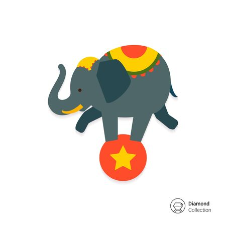 balance: Icon of circus elephant balancing on red ball
