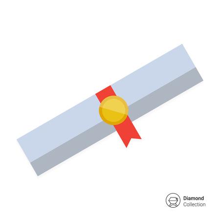 diploma: Icono de desplazamiento diploma con la cinta y el sello