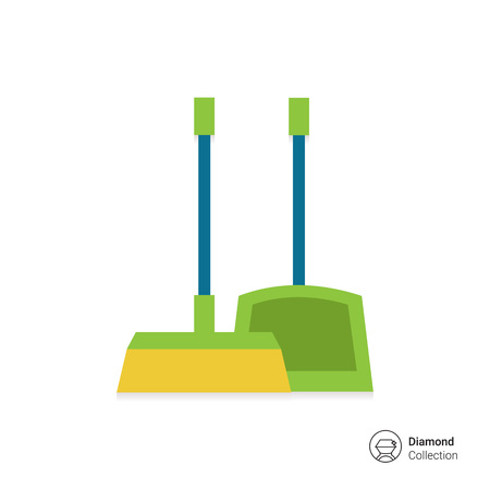 bristles: Vector icon of dustpan and broom, isolated on white