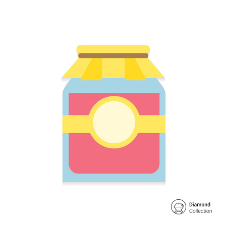 preserves: Icon of jam jar with label and paper cover