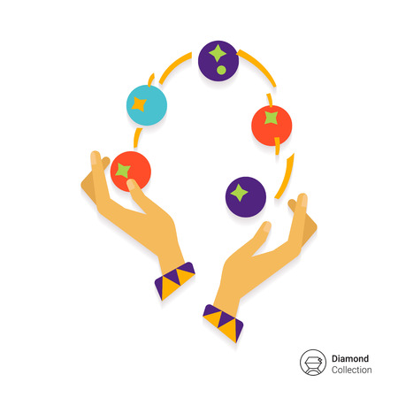 juggling: Icon of human hands juggling with balls Vectores